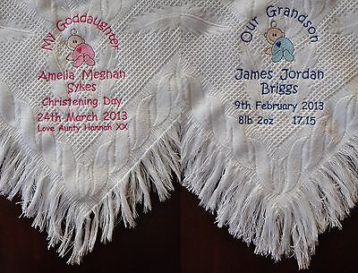 Personalised Baby Shawl / Blanket Grandson / Goddaughter Christening Birth Gift