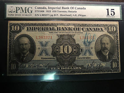 1923 Imperial Bank Of Canada $ 10 Dollars 375-18-06 Pmg Choice Fine 15