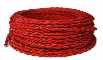 Red Twisted Cloth Covered Wire, Antique style Lamp Cord, Vintage Rayon Wire