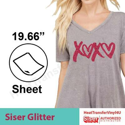 "Heat Transfer Vinyl Siser GLITTER 20"" x 12"" **COMBINED SHIPPING DISCOUNT**"