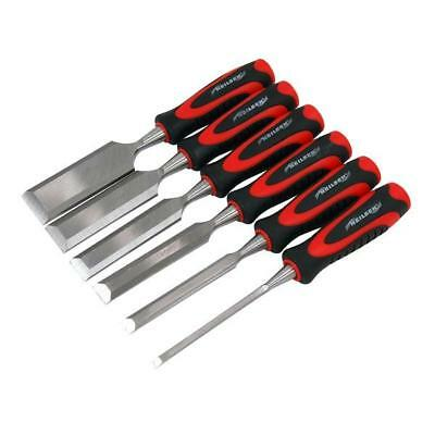 6 Piece Wood Chisel Set With Holder 6 - 38 mm  - Pound Thru Long Handles