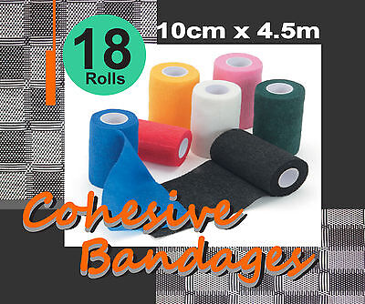 "COMFORT HORSE 18 ROLLS COHESIVE BANDAGES 10cmX4.5m ""FREE POSTAGE"""