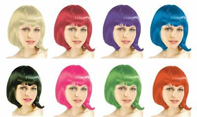 BOB Style Wig Short Straight Costume Wig Straight Fringe Party Wig 6 Colors-AU