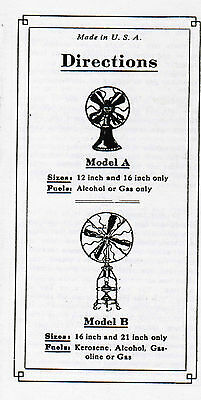Lake Breeze Hot Air Fan instruction Book manual hit miss engine sterling steam