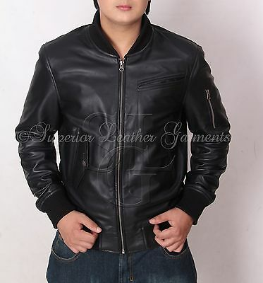 Men's Black Bomber Super Leather Jacket Fitted BNWT