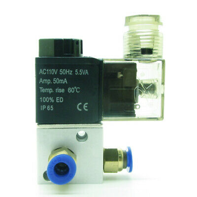 Pneumatic Air Solenoid Valve AC110V With 6mm Fittings 3 Port 2 Position NC
