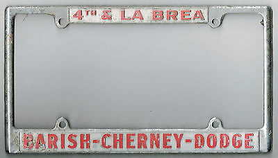 west los angeles california barish cherney dodge vintage license plate frame