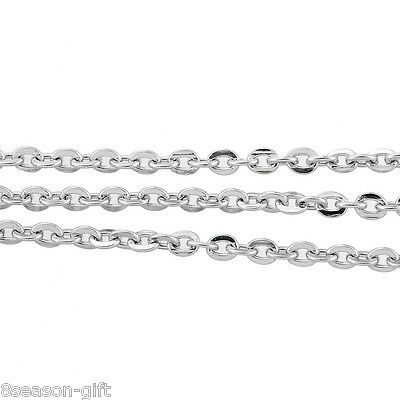 """10M Silver Tone Stainless Steel Cable Chains Findings 3x2.5mm(1/8""""x1.3mm)"""