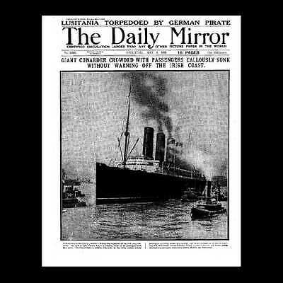 Dollshouse Miniature Newspaper - Daily Mirror - 1915 Sinking of the Lusitania