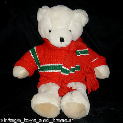 "24"" Vintage Christmas White Jingles Teddy Bear Stuffed Animal Plush Toy Scarf"