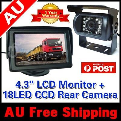 "Car Bus Truck Reversing Rear View  Ir Camera Parking Kit + 4.3"" Lcd Tft Monitor"