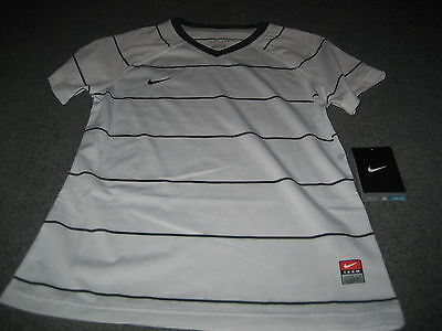 Girls Nike Dri Fit Soccer Short Sleeve Shirt Small S  White/Green  Nwt Msrp $42