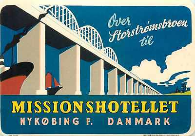 Mission Hotel ~NYKOBING DENMARK~ Great Old DECO Luggage Label