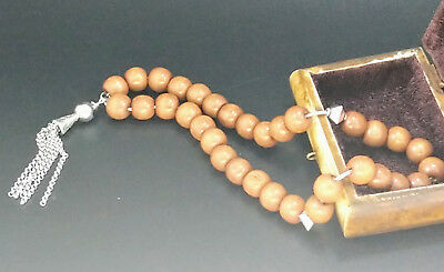 Tasbih Worry Beads Komboloi Wooden and Brushed Silver Brushed Silver JCE11
