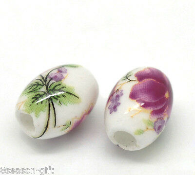 "50PCs Flower Pattern Oval Ceramic Beads 10x8mm(3/8""x3/8"")"