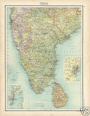 Antique Map South INDIA 1898 Bartolomew Citizen's Atlas Ceylon Madras Goa Bombay