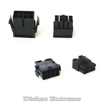 8 PIN ATX EPS Motherboard Power Supply Connector Set 1 x Male & 1 x Female Black