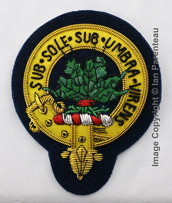 Irvine Family Crest Hand Embroidered Sew-On Cap Badge