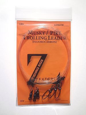 "130# MUSKY / PIKE FLUOROCARBON TROLLING LEADERS 3 Pack 36"" BEARING SWIVEL LEADER"