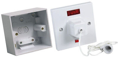 Shower pull cord with neon indicator and mounting box kit. CEDCLS45N + CEDPB145