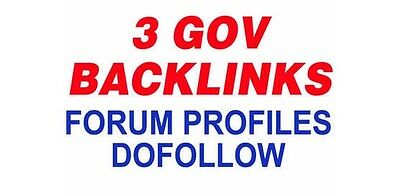 3 Permanent  DoFollow .GOV Profile Backlinks to your site.Serious Authority,SEO!