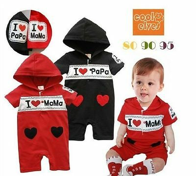 New Baby Boys Girls Red/Black Hoodie One Piece Jumpsuit Size 0, 1, 2