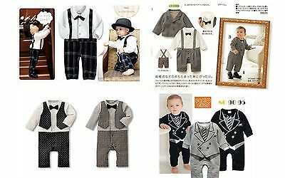 New Baby Boy Formal Texedo One Piece Romper / Jacket Suit Outfit 00.0.1.2