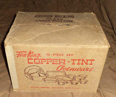 Fire-King Copper-Tint Lusterware 12 piece Set / Mint in Box with Labels