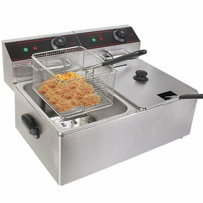 NEW ! 5000W 12L Electric Countertop Deep Fryer Dual Tank Commercial Restaurant