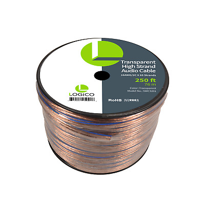 Car Home Audio Speaker Wire 16 Gauge 250 ft Audio Speaker Cable 16AWG 250'