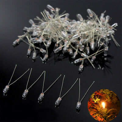 MP02W 100 pcs 3mm Clear Miniature 12V Grain of Wheat Bulbs Warm White NEW