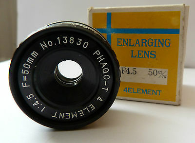 Phago T 4 Element 50mm f4.5 Enlarger Lens in Good Condition
