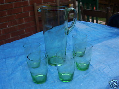 Vintage Blown Etched Cut Green Pitcher & 5 Tumblers