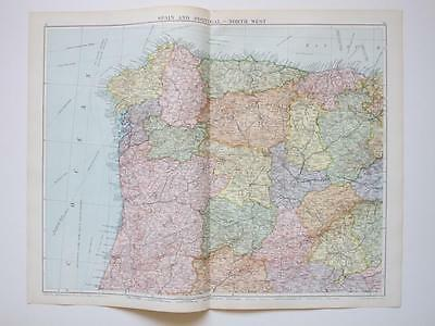 1920 Map Spain Portugal North West Large Colour Map Gross