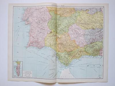1920 Map Spain South West Gibraltar Large Colour Map Gross