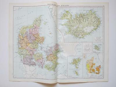 1920 Map Denmark & Iceland Large Colour Map Gross