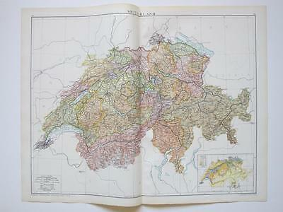 1920 Map Switzerland Large Colour Map Gross