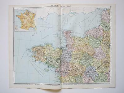 1920 Map France North West Large Colour Map Gross