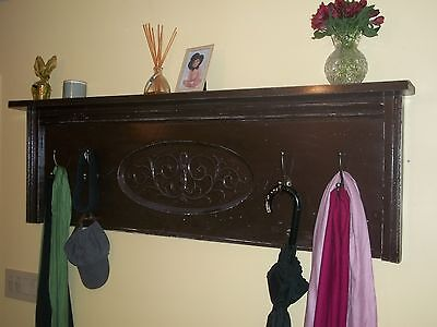 Antique Upright Piano Front Panel Distressed Painted Coat and Hat Rack w/ Shelf
