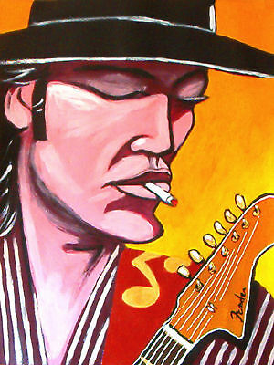 STEVIE RAY VAUGHAN PRINT poster blues fender sky is crying cd double trouble amp