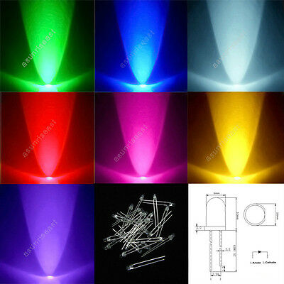 1000×3mm 5mm LED Light Lamp Red Green Blue White Yellow Pink Purple Wholesale
