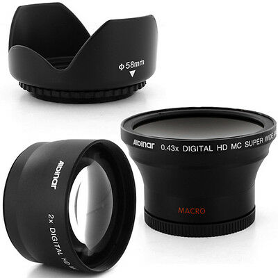 Albinar 58mm 0.43x Wide fisheye,2x Tele Lens, Hood for CANON REBEL T3 60D 7D