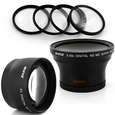 Albinar 58mm 0.43x Wide fisheye,2x Tele Lens, Filter for Canon EOS Rebel T2i T4i