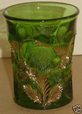 EAPG GREEN GOLD INVERTED STRAWBERRY TUMBLER CAMB