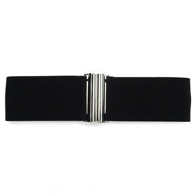 BTU - S Size Black Silver Buckle Women Wide Stretch Elastic Waist Belt AU