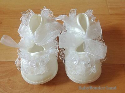 NEW Baby Infant Girls Ivory Christening Baptism Lace Shoes 0-3m,3-6m,6-9m,9-12m
