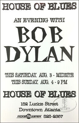 Bob Dylan 1996 Tour House Of Blues Concert Poster