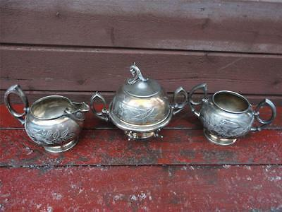 Victorian James Tufts Floral Engraved Silverplate Butter Dish Creamer Sugar Set