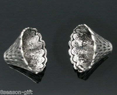 50 Silver Tone Cone Bead Caps Findings Fit 12mm-22mm Beads
