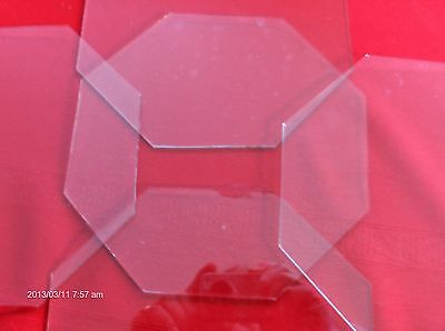 "8 pieces Clock Glass 7.5""x7.5""Octagon .080 CLEAR for Craft Closeout sale! WOW!"